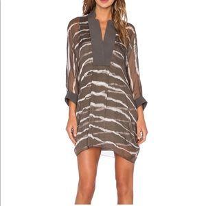 Halston Heritage Striped Caftan Dress